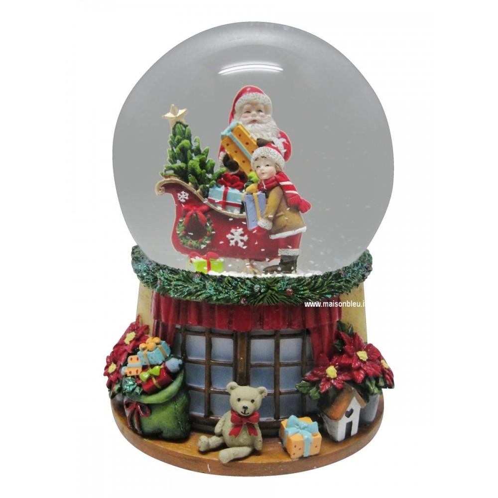 Babbo Natale Musicale.Sfera Musicale Babbo Natale E Bambino Carillon Natale
