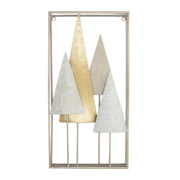 Quadro decorazione Alberi Panna Oro Metallo