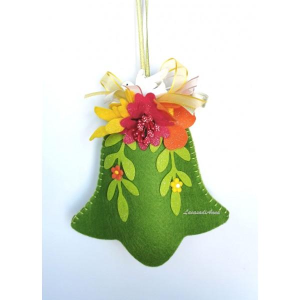 Campana feltro Verde con Fiori