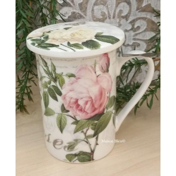 Tazza Mug per infuso decoro Rose