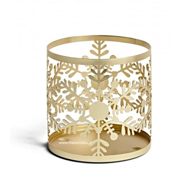 Porta Giara Metallo Oro Snowflake Frost